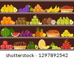 counter with fruits.... | Shutterstock .eps vector #1297892542