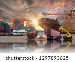 global business of container... | Shutterstock . vector #1297893625