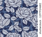 denim floral seamless pattern....   Shutterstock .eps vector #1297914682