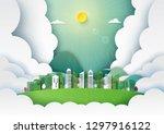 paper art of nature landscape... | Shutterstock .eps vector #1297916122