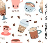 coffee with smile faces... | Shutterstock .eps vector #1297930528
