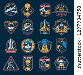 vintage space colorful emblems... | Shutterstock .eps vector #1297934758