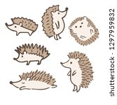 cute hedgehogs with different... | Shutterstock .eps vector #1297959832