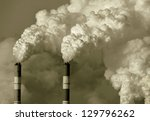 smoke from the pipes of heat... | Shutterstock . vector #129796262