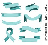 set of stitched ribbons... | Shutterstock .eps vector #129796352