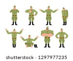 soviet soldier set poses and... | Shutterstock .eps vector #1297977235