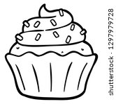 vector cartoon cupcake with... | Shutterstock .eps vector #1297979728
