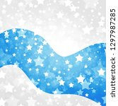 white background with blue wavy ... | Shutterstock . vector #1297987285