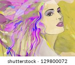 fashion woman. hand painted... | Shutterstock . vector #129800072