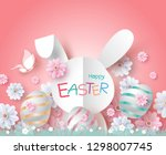 easter day card design of paper ... | Shutterstock .eps vector #1298007745