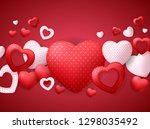 happy valentines day card with... | Shutterstock .eps vector #1298035492