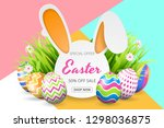 happy easter sale background... | Shutterstock .eps vector #1298036875