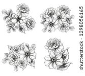 flowers set. collection of... | Shutterstock .eps vector #1298056165