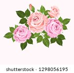 pink and beige roses with green ... | Shutterstock . vector #1298056195