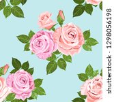 pink and beige roses on the... | Shutterstock . vector #1298056198