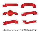 red ribbons collection  | Shutterstock .eps vector #1298069485