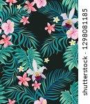 tropical vector seamless... | Shutterstock .eps vector #1298081185