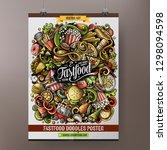 fastfood hand drawn doodles... | Shutterstock .eps vector #1298094598