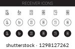receiver icons set. collection... | Shutterstock .eps vector #1298127262