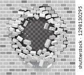 white grey brick break wall... | Shutterstock .eps vector #1298130295