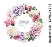 wreath of roses  watercolor ... | Shutterstock . vector #1298136148