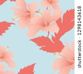 seamless abstract pink hibiscus ... | Shutterstock .eps vector #1298143618