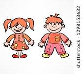 happy color cartoon boy and... | Shutterstock .eps vector #1298153632