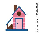 wooden spring bird house icon... | Shutterstock .eps vector #1298167702