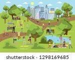 public park in the city with... | Shutterstock . vector #1298169685
