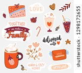 beautiful love stickers with... | Shutterstock .eps vector #1298172655