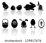 Set Of Black Easter Icons On...