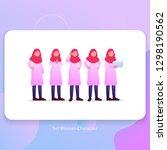 set hijab veil woman character...