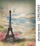 Retro Styled Card With Eiffel...