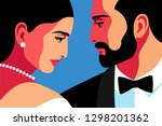 couple in love  face to face....   Shutterstock .eps vector #1298201362