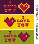 retro pixel icons i love you... | Shutterstock .eps vector #129821072