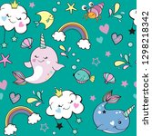 cute whale unicorn  rainbow and ... | Shutterstock .eps vector #1298218342