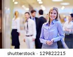 business woman  with her staff  ... | Shutterstock . vector #129822215