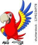 cartoon macaw waving | Shutterstock . vector #1298236978