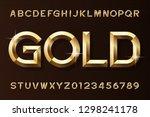 gold alphabet font. 3d beveled...   Shutterstock .eps vector #1298241178