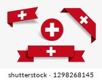 swiss flag stickers and labels...   Shutterstock . vector #1298268145