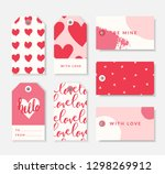 a set of seven cute romantic... | Shutterstock .eps vector #1298269912
