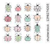 big line hand drawn doodle set... | Shutterstock .eps vector #1298274205
