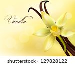 vanilla pods and flower. vector ... | Shutterstock .eps vector #129828122