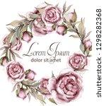 roses delicate wreath frame... | Shutterstock .eps vector #1298282368