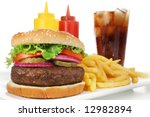 Hamburger meal served with french fries and soda close-up. Fast food & barbecue collection. - stock photo