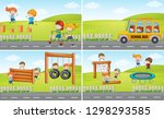 set of student at playground... | Shutterstock .eps vector #1298293585