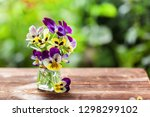 Bouquet Of Colorful Pansies On...