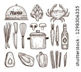 vector set of hand drawn food... | Shutterstock .eps vector #1298306335