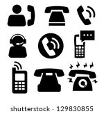 Vector Black Phone Icons Set O...