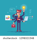 happy handsome office worker... | Shutterstock .eps vector #1298321548